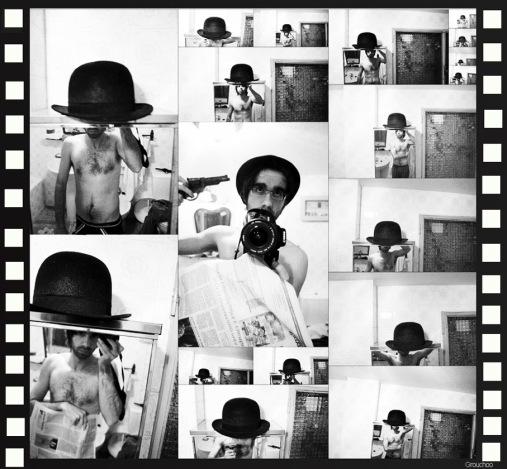 El suicidio, Collage del bombín, el bastón y la pistola
