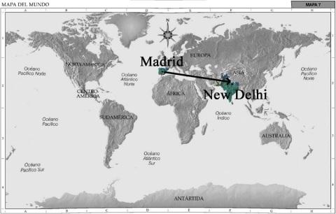 Mapa del Mundo, Madrid la India por Grouchoo