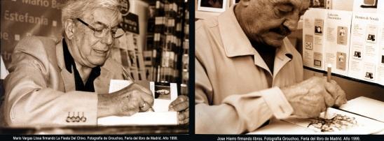 Jose Hierro y Mario Vargas Llosa en la feria del libro de Madrid, 1999.